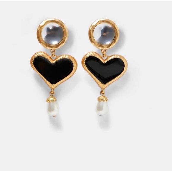 Gemstone Crystal Statement Gold Hammered Drop Earrings Zara Style Jewellery